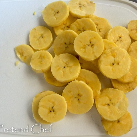 disc slices of plantains for Fried plantains recipe