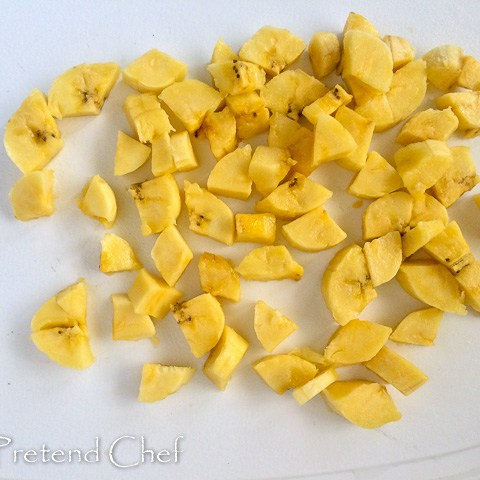 cubes of plantains for Fried plantains recipe