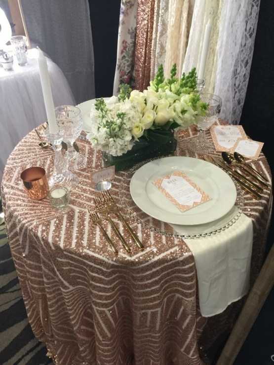 rose gold tablecloth hire
