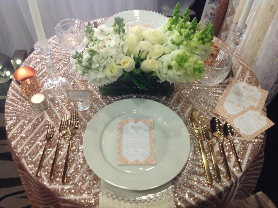 art deco rose gold cloth hire