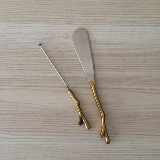 gold cheese utensils hire