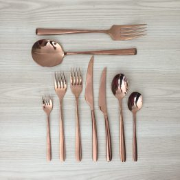 copper rose gold cutlery hire new zealand