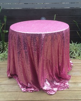 pink sequin tablecloth hire