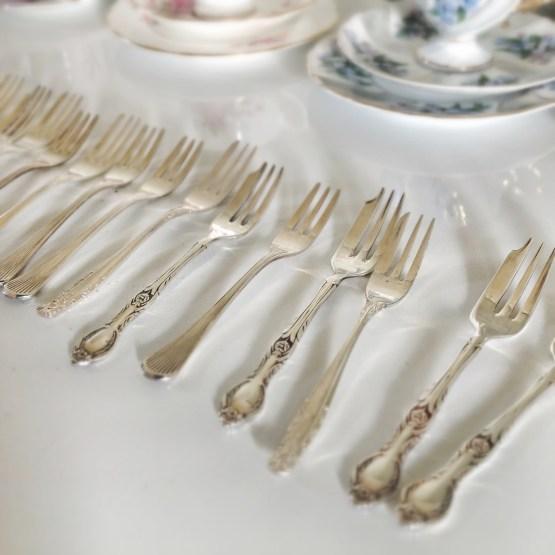 vintage silver cake fork hire