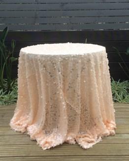 peach sequin tablecloth hire