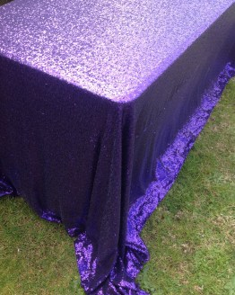 Purple sequin tablecloth hire nz