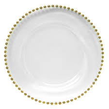 gold beaded charger plate hire nz