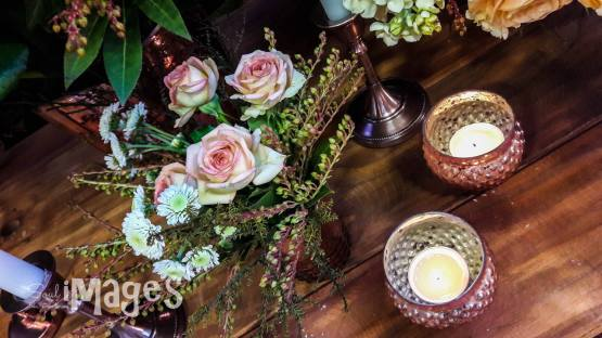 dotted round tealight holder rose gold