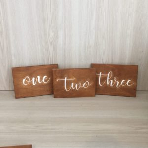 wooden table number hire nz
