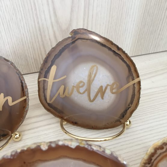 hire agate slice table numbers nz