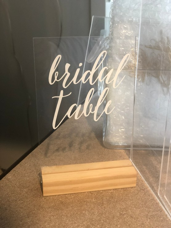 bridal table sign