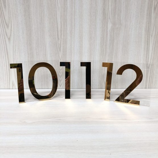 gold acrylic table number hire nz