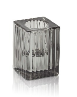 Grey Ribbed Taper Candle Holder Hire NZ