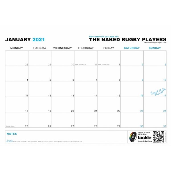 The Naked Rugby Players Calendar 2021