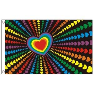 buy rainbow love heart lgbt pride 5' flag online