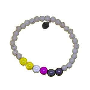 white stone bracelet with non binary holographic set