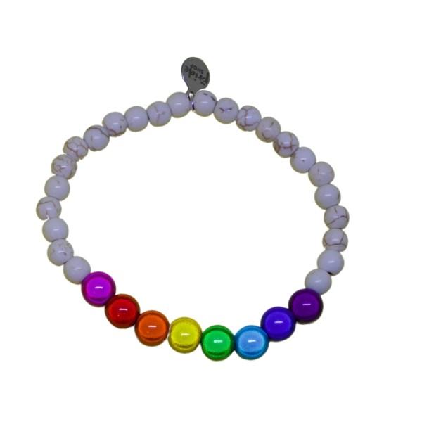 white stone bracelet with Gilbert Baker holographic set