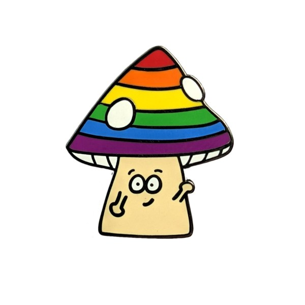 Rainbow Mushroom Pin Badge