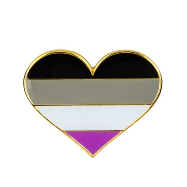 Asexual Flag Heart Pin Badge