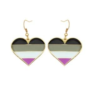 Asexual Pride Flag Heart Shape Earrings