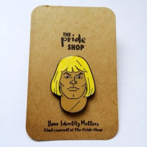 He-Man Face Glitter Pin Badge