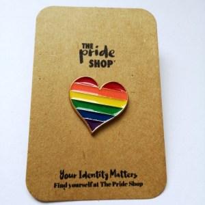Rainbow Flag Heart Pin Badge