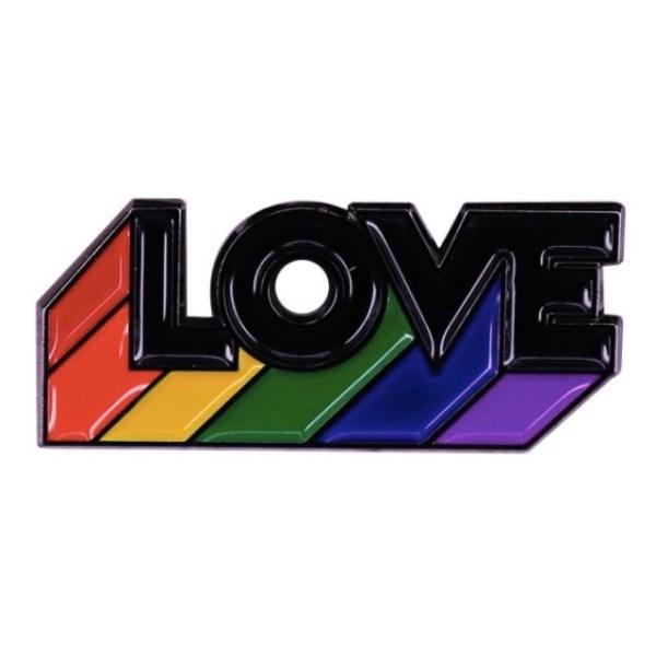 Rainbow love black pin badge