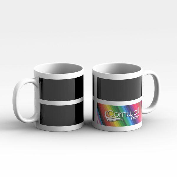 Cornwall flag + pride logo mug
