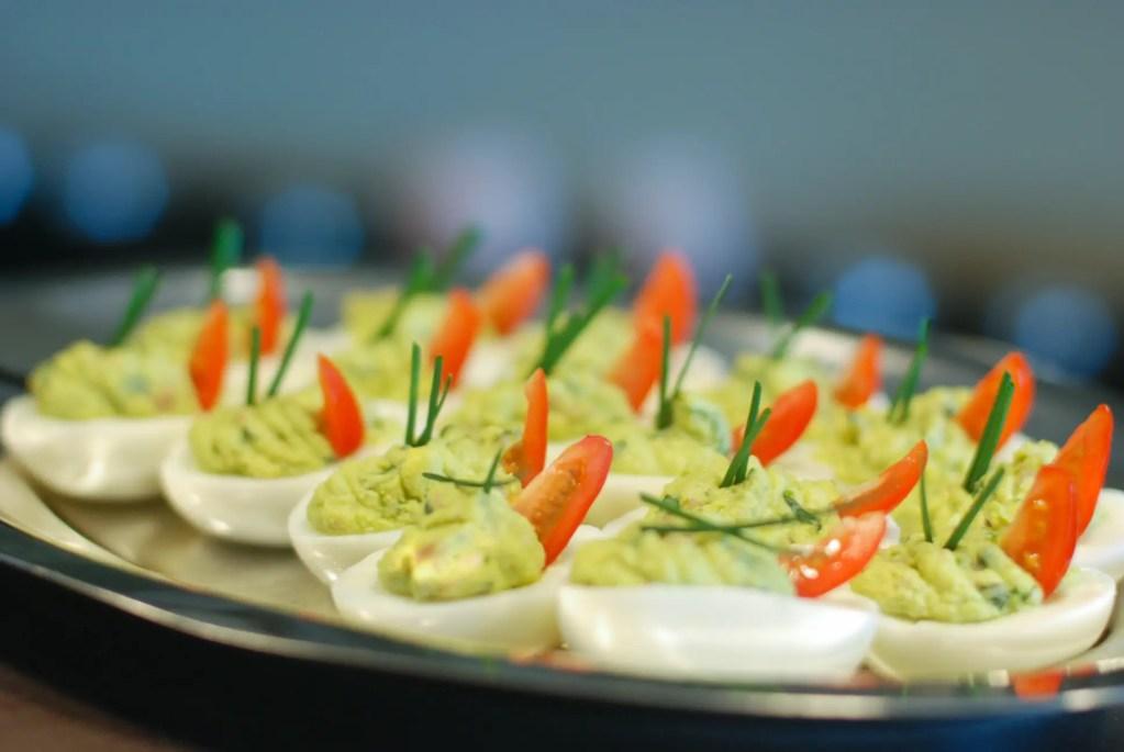 Basil, Avocado, Bacon Deviled Eggs (aka Green Eggs and Ham)