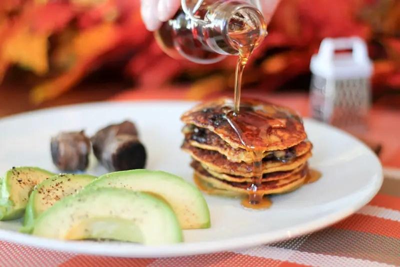 Paleo Peach Blueberry Pancakes