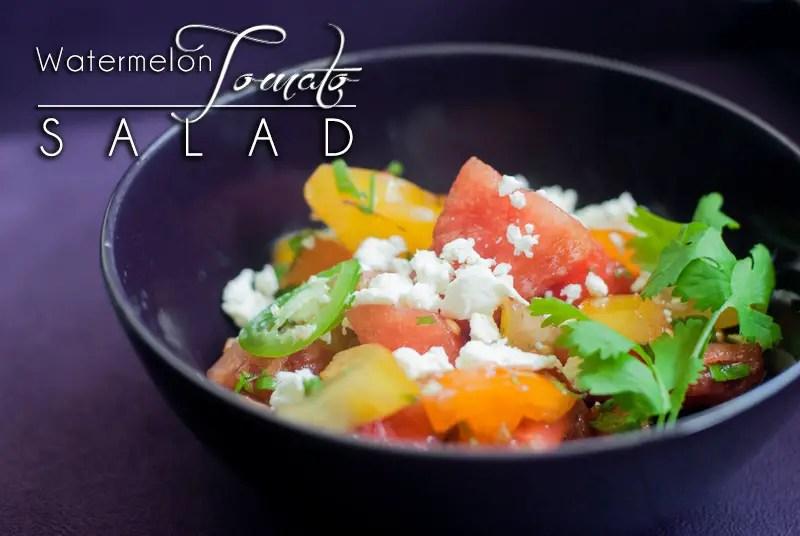 Watermelon Tomato Salad with Cilantro & Jalapeño