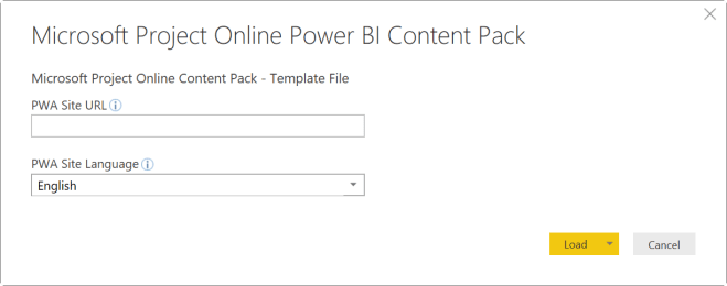 The Power BI content pack for Project Online open