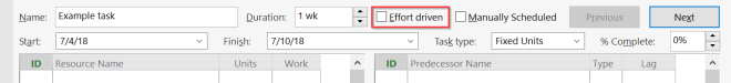 The split screen includes Effort driven checkmark