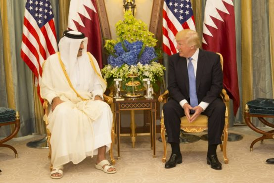 President Donald Trump meets with the Emir of Qatar