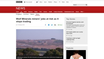 Councillor calls on local government to help save 200 Wolf Minerals jobs at risk on Dartmoor