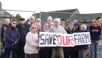 Torbay Greens and local residents at derelict Little Blagdon Farm, Paignton calling for the publically-owned farmhouse & outbuildings to be saved from demolition