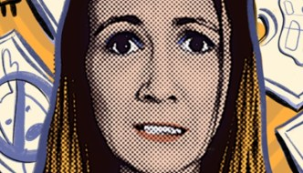 Laminated: pop art type poster for the show with a woman's frustrated face surrounded by objects