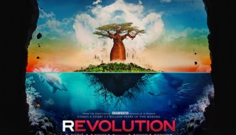 Revolution the film poster featuring a cartoon tree on a small island in the distance