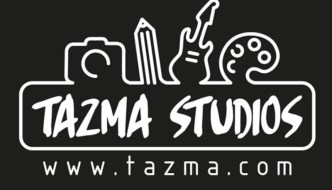 Tazma Studios logo a black and white line drawing with arts and music equipment