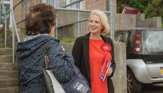 Charlotte Holloway talking to a constituent