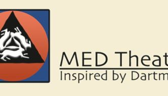 Med Theatre, inspired by Dartmoor, logo (three stylised hares in a triangle) and words