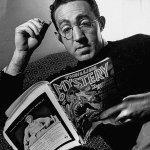 "He wrote for the slicks, but author S.J. Perelman reads the Summer 1944 number of ""Thrilling Mystery"" in this photo."
