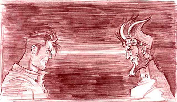 Doc Payne faces off with his brother, the evil Wilton Payne Smythe, in a sketch by Constant Payne production designer Tae Soo Kim.