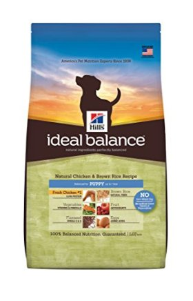 Hill's Ideal Balance Chicken and Brown Rice Recipe Puppy Dry Dog Food Bag, 12.5-Pound