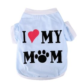 Pet Clothes Dog T Shirt Dog Clothing Soft Dog Clothing Small Dogs Clothes Cotton Dog Costume Summer Apparel Vest I Love My Mom Printed S