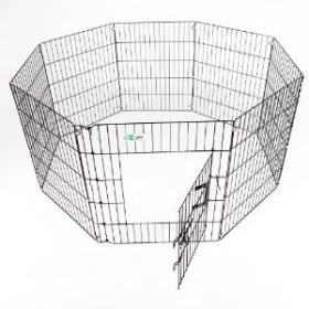 GoGo Pet Products High Epoxy Exercise Pen with Door for Dogs, 30-Inch, Black