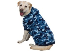 Casual Canine Cotton Camo Dog Hoodie, XX-Large, Blue