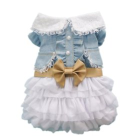 Fairy Denim Dog Dress for Dog Clothes Charming Cozy Dog Shirt Pet Dress Free Shipping,S