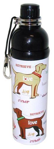 Good Life Gear Stainless Steel Pet Water Bottle, 24-Ounce, White Puppy Love Design
