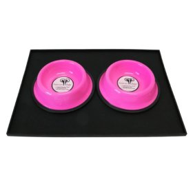 Platinum Pets Heavy-Duty Silicone Feeding Puppy Mat with 2 6-Ounce Embossed Puppy Bowls, Pink